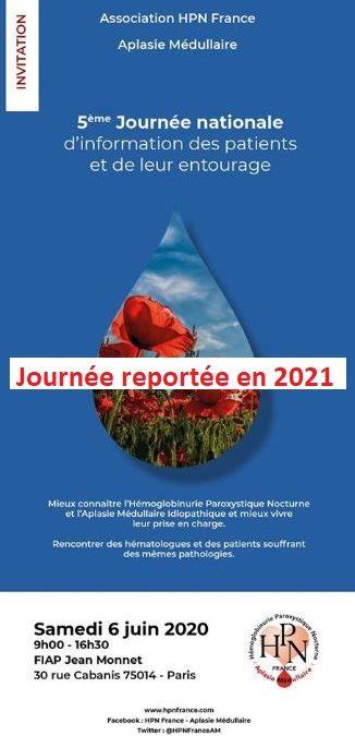 5ème journée de rencontre Médecins-Patients de notre Association HPN – AM le 6 Juin 2020 => Journée Reportée en Juin 2021